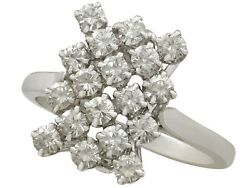 Vintage French 1.26ct Diamond And 18k White Gold Dress Ring