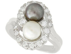 Vintage Cultured Pearl And 0.95 Ct Diamond, 14k White Gold Dress Ring