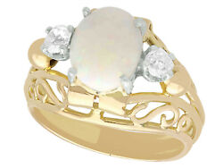 Antique 1.82 Ct Opal And 0.35 Ct Diamond 18k Yellow Gold Dress Ring French