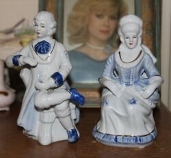 2 Victorian Dresden Kpm Blue And White Porcelain Figures/figurines Dresdengermany
