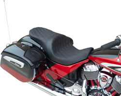 Forward Positioned Low Profile Touring Seat Black Double Diamond - Solar Reflect