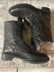 Black Leather Combat Boots Sz 42 Quilted Logo Lace Up Rare