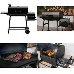 Charcoal Grill Barrel Smoker Large Side Shelf Heavy-duty Outdoor Cooking 29 In