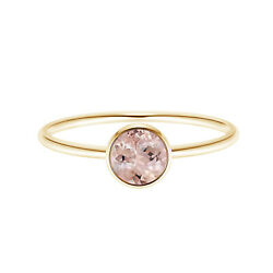 Solitaire Pink Morganite 9k Yellow Gold 0.50 Ctw Round Promise Love Ring
