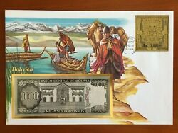 Amazing First Day Envelope With Typical Figures, Stamps And Note, Bolivia 1990