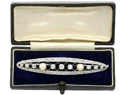 Antique 3.46 Ct Diamond And Natural Pearl Platinum Brooch French Circa 1920