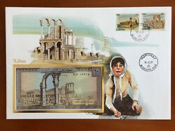 Amazing First Day Envelope With Typical Figures Stamps And Note Liban 1987