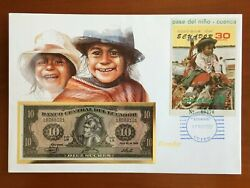 Amazing First Day Envelope With Typical Figures Stamps And Note Ecuador 1987