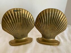 Vintage Clam Shell Figure Bookends Retro Art Deco Brass  6 Tall 5 Wide
