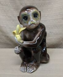 Vintage Tilso Japan Ceramic Hand-painted 9 Monkey With Banana Figurine Statue