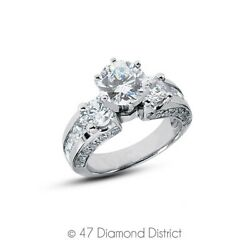 4.02 Ct G Si1 Round Natural Diamonds 18k Gold Vintage Style Side-stone Ring