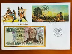Amazing First Day Envelope With Typical Figures Stamps And Note Argentina 1985