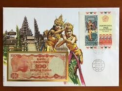 Amazing First Day Envelope With Typical Figures Stamps And Noteindonesian 1991