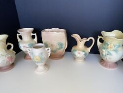 Hull Art Pottery Vintage 6 Pc. Mixed Lot- 5 Vases-1 Pitcher
