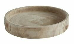 Paulownia Wood Hand Carved Tray Cream And Beige Colors For Decoration