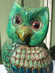 Fabulous Vintage Hand Painted Wood Carving Of An Owl.