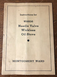 Antique Montgomery Ward Catalogue Manual Needle Valve Wickless Oil Stove