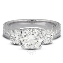1.82 Ct D-vs2 Round Natural Diamonds 18k Gold Vintage Style Engagement Ring