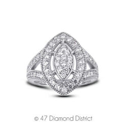 1ct Tw F Vs2 Round Earth Mined Certified Diamonds 14k Gold Halo Cocktail Ring