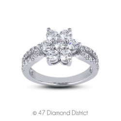1 1/2ct Tw E Vs2 Round Cut Earth Mined Certified Diamonds 950 Plt. Fashion Ring