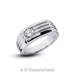 0.75ct I Vs2 Round Cut Earth Mined Certified Diamond 14k Gold Classic Menand039s Ring
