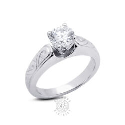 1.04ct E Si2 Round Natural Diamond 14k Gold Vintage Solitaire Engagement Ring