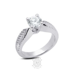 0.29ct H Si1 Round Natural Diamond Pt 950 Vintage Solitaire Engagement Ring