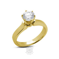 0.70ct D Vs2 Round Natural Diamond 18k Gold Classic Solitaire Engagement Ring