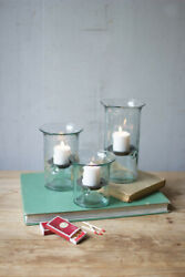 Recycled Glass Votive Cylinders, Candle Safe Glass, Set Of Three
