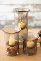 Three Mini Smoked Glass Votive Cylinders Cv501a In Tall, Medium And Small Glass
