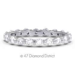 2ct Tw F Si2 Round Earth Mined Certified Diamonds 18k Gold Classic Eternity Ring
