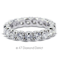 3 1/2 Ct G Si2 Round Natural Certified Diamonds 14k Gold Classic Eternity Band