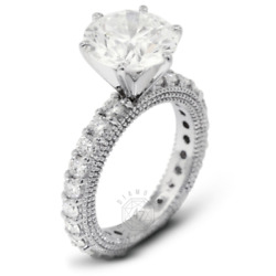 2.30ct Tw F-vs2 Round Earth Mined Certified Diamonds 14k Gold Side-stone Ring