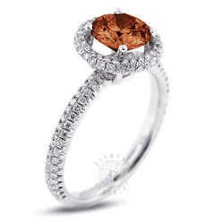 1.53 Ct Red Vs1 Round Earth Mined Certified Diamonds 18k Halo Side-stone Ring