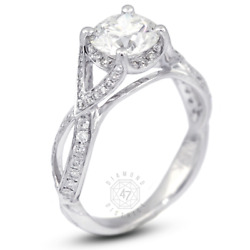 1.35 Ct F-si1 Round Natural Diamonds 18k Gold Vintage Style Side-stone Ring