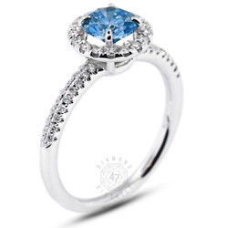 0.92ct Tw Blue Vs1 Round Natural Certified Diamonds 18k Gold Halo Sidestone Ring