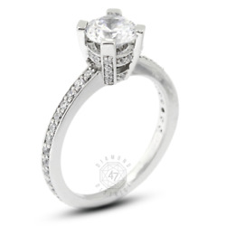 1.14 Ct E-vs2 Round Natural Certified Diamonds Pt 950 Classic Side-stone Ring