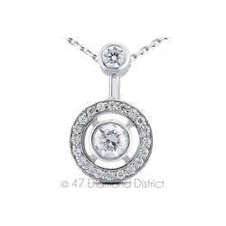 0.75ct Total F Vs2 Round Cut Natural Certified Diamonds 18k Gold Halo Pendant