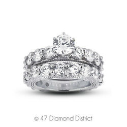 5.13 Ct G Si1 Round Natural Diamonds 14k Vintage Style Ring With Wedding Band