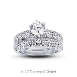 0.91 Ct D-si1 Round Natural Diamonds Plat Vintage Style Ring With Wedding Band