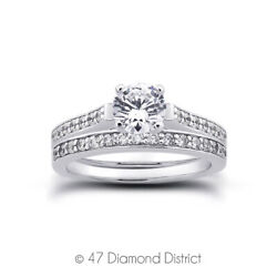 1.34 Ct G-vs2 Round Natural Certified Diamonds 14k Gold Ring With Matching Band