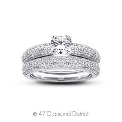 1.34 Ct D-si1 Round Natural Certified Diamonds 18k Gold Ring With Matching Band