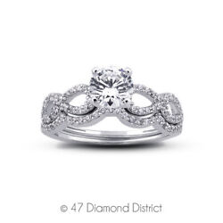 1.07ct Tw E Vs2 Round Earth Mined Certified Diamonds Plat Engagement Ring Set