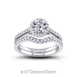1.28 Ct H I1 Round Natural Certified Diamonds 18k Halo Ring With Matching Band