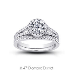 1.34 Ct F-si1 Round Natural Certified Diamonds 18k Halo Ring With Matching Band