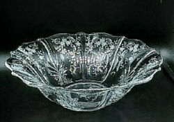 Fostoria Navarre Clear Etched Baroque Flame Flared 11 Glass Bowl Cir 1936-1982