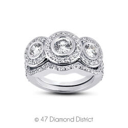 1.28 Ct F Vs2 Round Natural Certified Diamonds 18k Halo Ring With Wedding Band