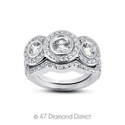 1.5 Ct H Vs2 Round Natural Certified Diamonds 14k Gold Halo Engagement Ring Set