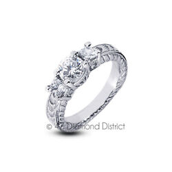 1.70 Ct H Si2 Round Natural Diamonds 18k Gold Vintage Style Engagement Ring
