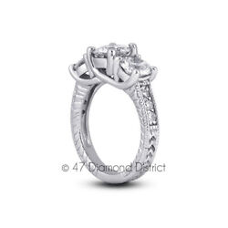 1.25 Ct I Si1 Round Natural Diamonds Pt 950 Vintage Style Engagement Ring